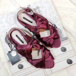 NWT Zara Red Satin flat Sandals